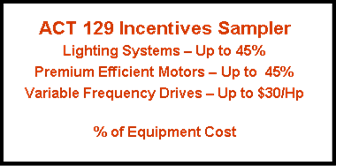 Incentives for Energy Efficient Lighting Systems & Electric Motors